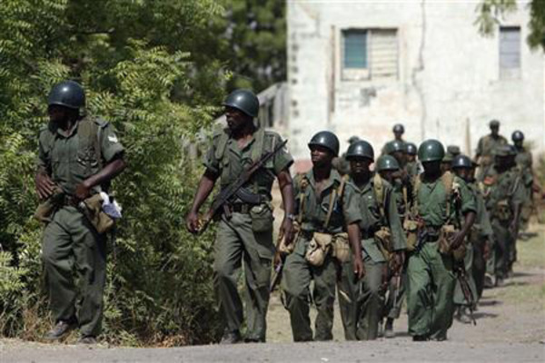 Nigerian Soldiers Patrolling Troubled region
