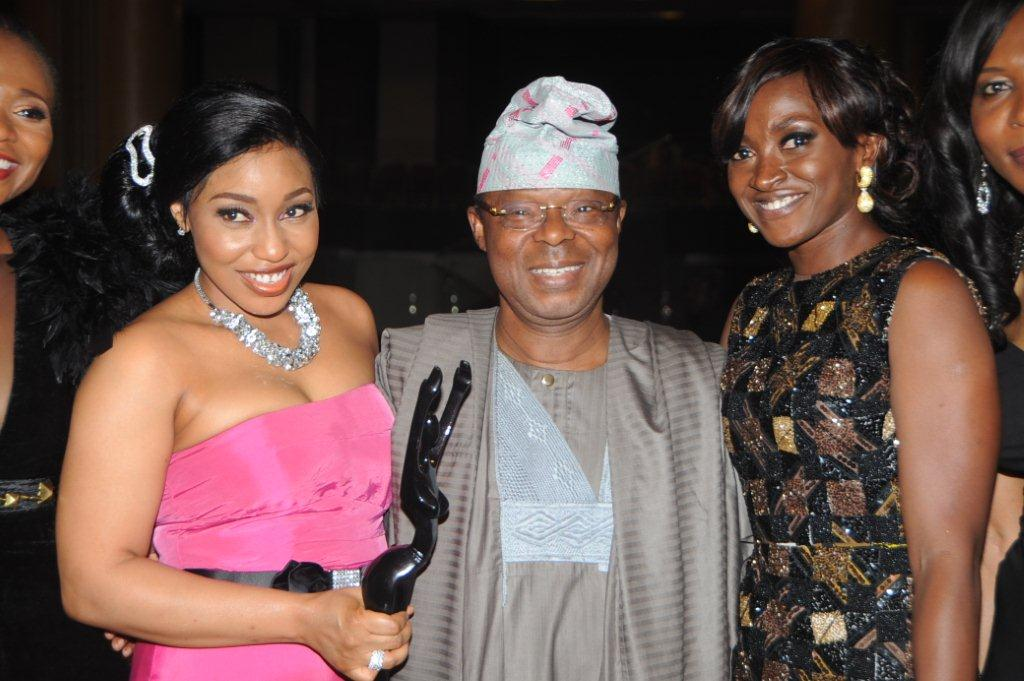 Chairman of Airtel Nigeria, Dr. Oba Otudeko (CFR) flanked by the winner of the Best Actress in the leading Role award, Rita Dominic (left) and actress, Kate Henshaw, during the 8th African Movies Academy Awards (AMAA)...in Lagos yesterday