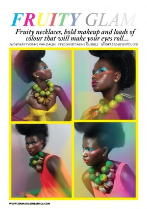 Fruity+necklaces+bold+makeup+Yvonne+Van+dalen+Zen+Magazine