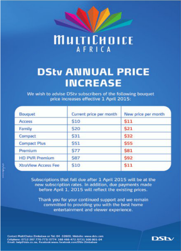 DStv-Multichoice annual price increase