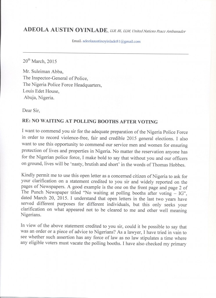 OPEN LETTER TO THE INSPECTOR GENERAL OF POLICE PAGE 1
