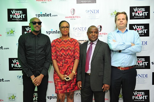 2face, Annabel Ugwoke (Program Officer NDI, Maxwell Manidu (Program Manager, NDI)&  Jasper Veen ( Resident Country director NDI) at the Vote Not Fight Review & Media Roundtable