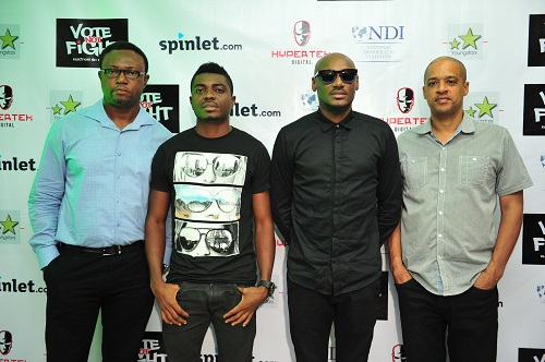 (Hypertek Digital) Efe Omorogbe, Frankie Ogbole, 2face Idibia & Mark Redguard at the Vote Not Fight Review Session & Media Rountable2