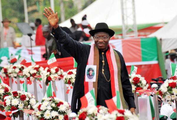 PIC. 10. PRESIDENT GOODLUCK JONATHAN ACKNOWLEDGING CHEERS DURING HIS    DECLARATION OF INTEREST IN 2015 PRESIDENTIAL RACE IN ABUJA ON TUESDAY   (11/11/14). 5673/11/11/14/ICE/AIN/NAN