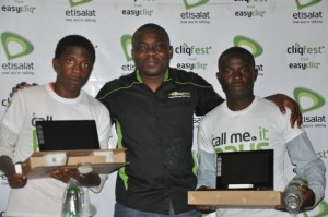 Winners of Laptops Christian Omeje Computer Engineering student  Michael Nwoseh Specialist Youth Segment Etisalat Nigeria and Zaacheus Yusuf Mechanical Engineering student