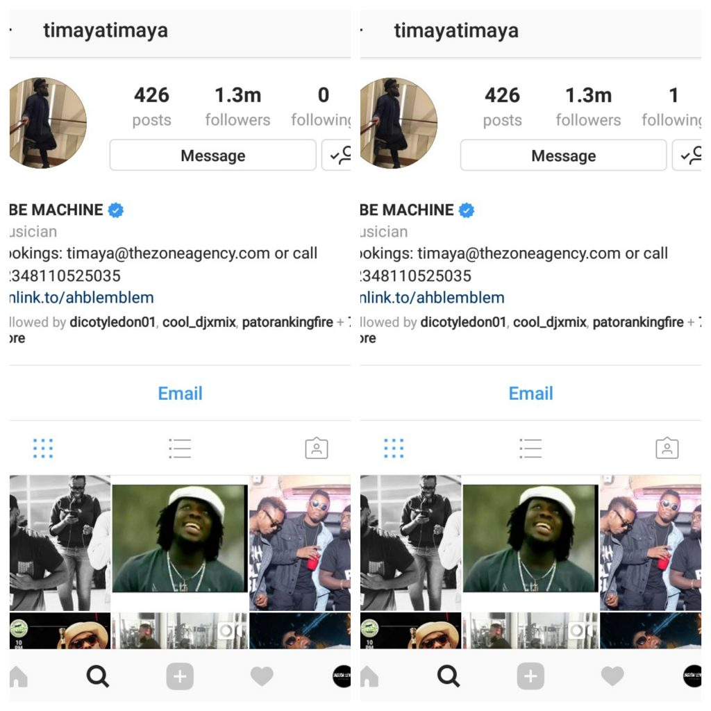 Timaya Finds Only One Person Worth Following On Instagram, Who is