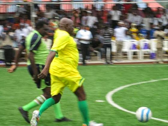 obasanjo playing football