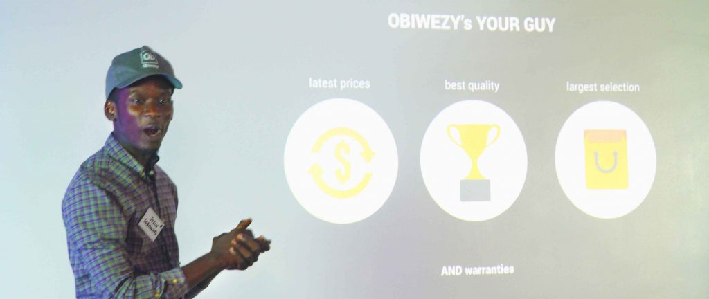 Mr Eazi making a pitch at a startup event